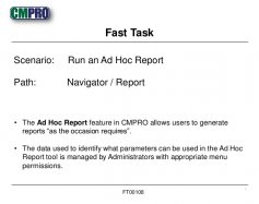 The Ad Hoc Report feature in