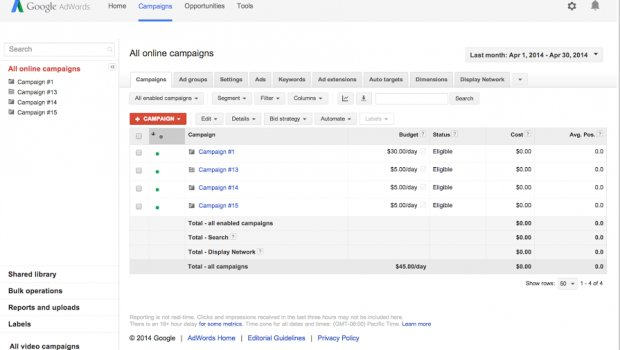 Google AdWords Keyword tool cost per Click