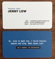 This is my name card. You can do one too - even you don't have a company name to print on it.